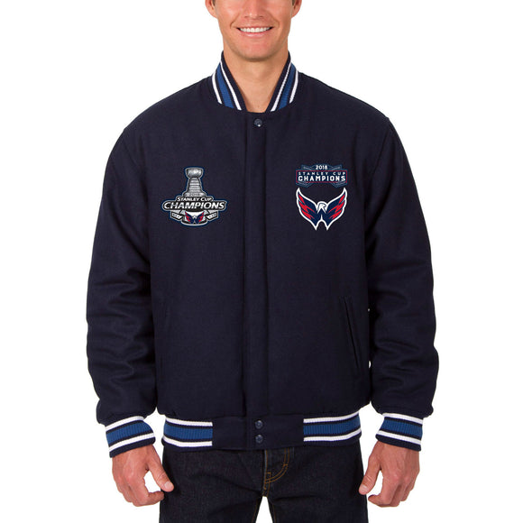 Washington Capitals JH Design 2018 Stanley Cup Champions Reversible All-Wool Jacket – Navy - JH Design