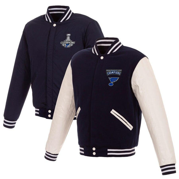 St. Louis Blues JH Design 2019 Stanley Cup Champions Reversible Fleece Jacket - Navy/White
