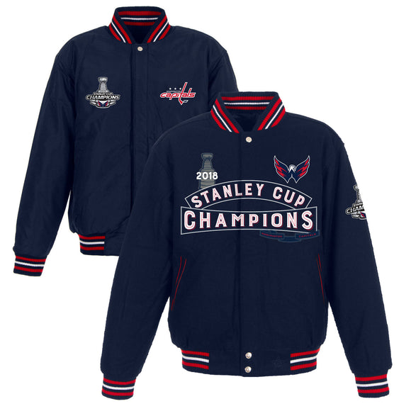 Washington Capitals JH Design 2018 Stanley Cup Champions All-Wool Reversible Jacket – Navy - JH Design