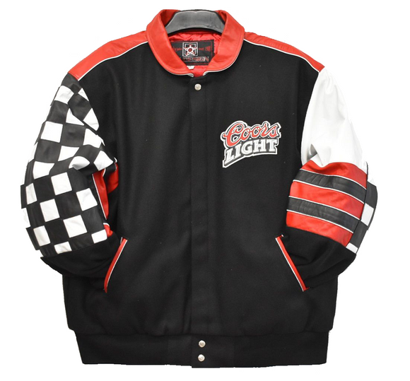 Coors Light Racing Leather and Wool Jacket - Special Edition - Black - JH Design
