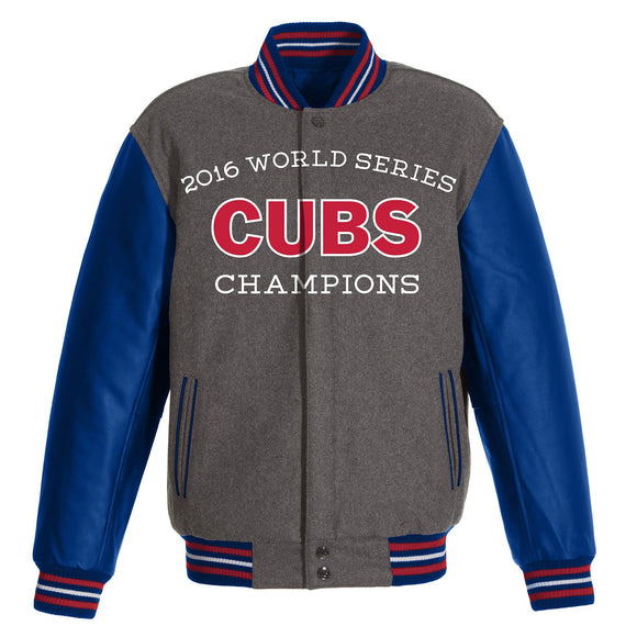 Chicago Cubs 2016 World Series Champions Wool and Faux Leather Jacket - JH Design
