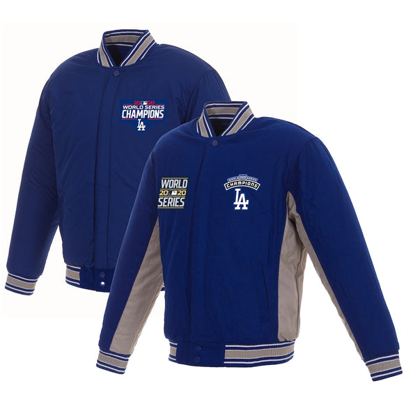 Los Angeles Dodgers JH Design 2020 World Series Champions Reversible Wool Full-Zip Jacket with Embroidered Logos - Royal/Gray - JH Design
