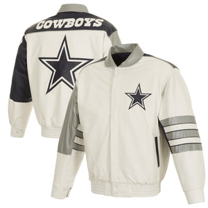 Dallas Cowboys JH Design Leather Jacket With Leather Applique - White - JH Design