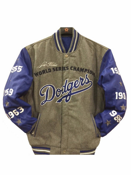 Los Angeles Dodgers Commemorative Reversible Wool Championship Jacket - Charcoal/Royal