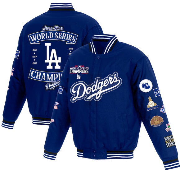 Los Angeles Dodgers 2020 World Series Champions Poly-Twill Full-Snap Jacket - Royal - JH Design