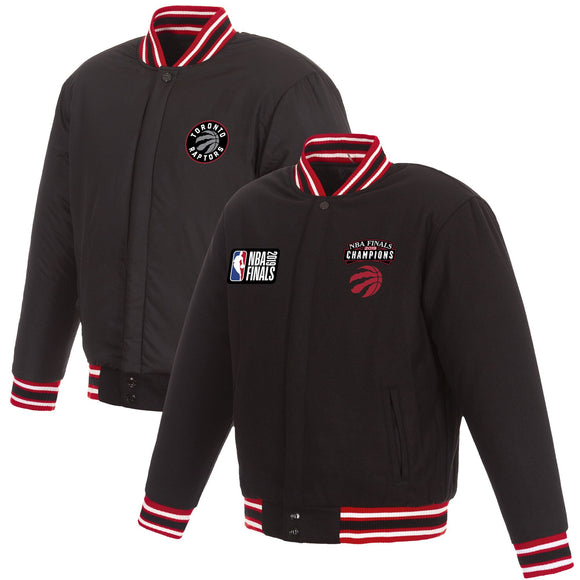 Toronto Raptors JH Design 2019 NBA Finals Champions Reversible Wool Jacket with Nylon Lining - Black/Red - JH Design