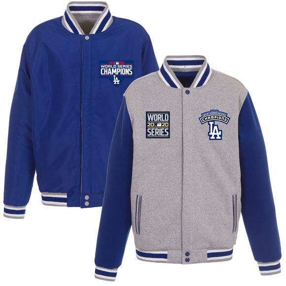 Los Angeles Dodgers JH Design 2020 World Series Champions Reversible Fleece Full-Snap Jacket with Embroidered Logos - Gray/Royal - JH Design