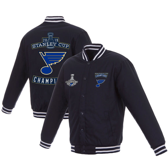 St. Louis Blues JH Design 2019 Stanley Cup Champions Poly Twill Jacket with Quilted Knit - Navy - JH Design