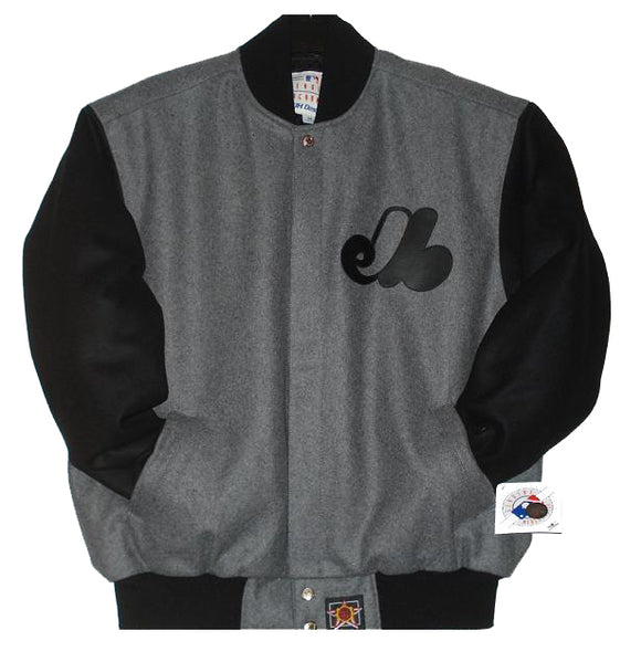 Montreal Expos Wool Jacket w/ Handcrafted Leather Logos - Grey - JH Design