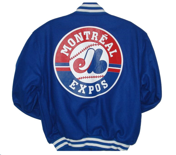 Montreal Expos Wool Jacket w/ Handcrafted Leather Logos - Royal - JH Design