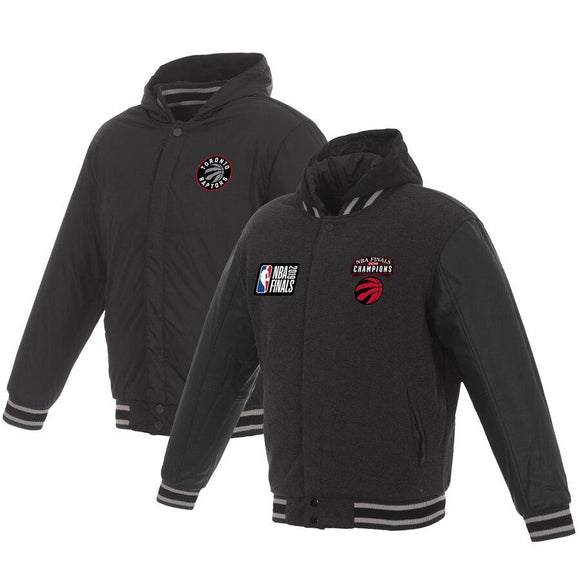 Toronto Raptors JH Design 2019 NBA Finals Champions Reversible Two-Toned Fleece Hoodie - Charcoal/Black - JH Design