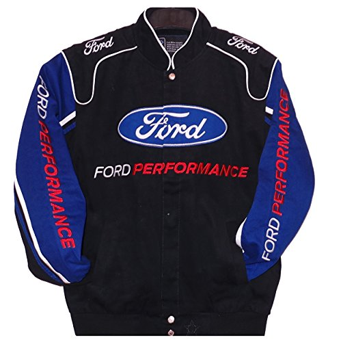 Ford Performance Twill Jacket - Black/Royal - J.H. Sports Jackets