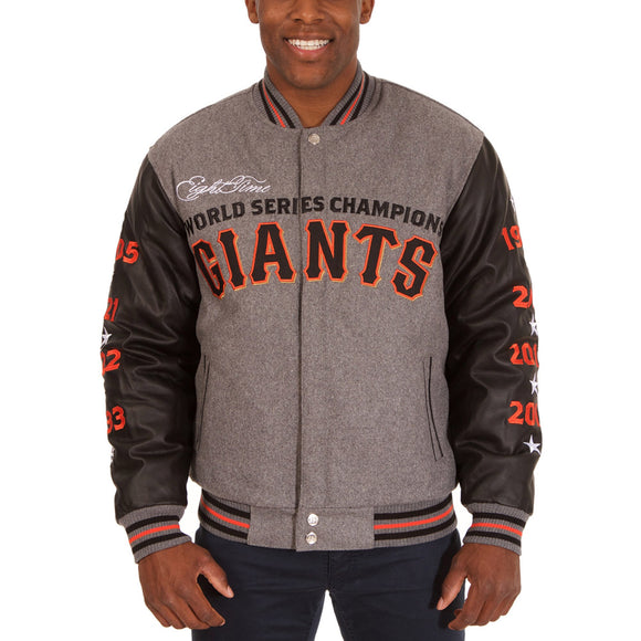 San Francisco Giants JH Design Heathered Gray MLB Reversible Commemorative Melton Jacket - JH Design
