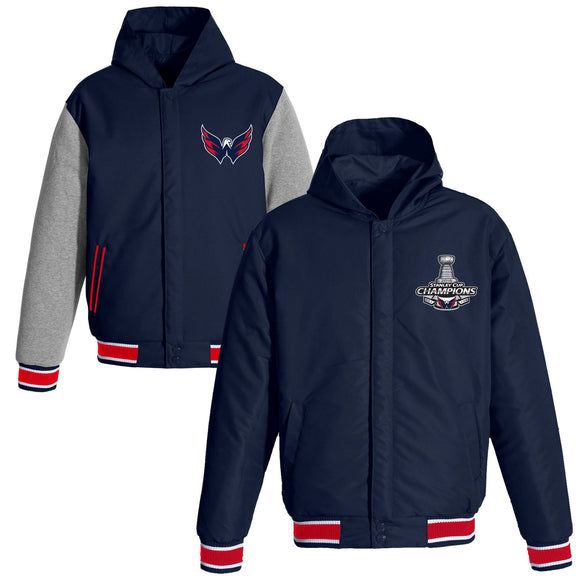Washington Capitals JH Design 2018 Stanley Cup Champions Reversible Poly-Twill Fleece Sleeve Hooded Jacket – Navy - JH Design