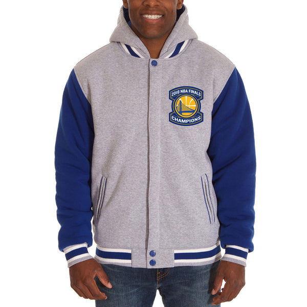 Golden State Warriors JH Design 2018 NBA Finals Champions Reversible Fleece Hooded Jacket – Gray/Royal