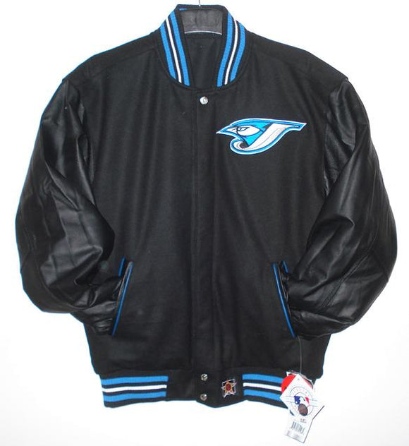 Toronto Blue Jays Wool & Leather Reversible Jacket w/ Embroidered Logos - Black - JH Design