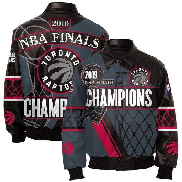 Toronto Raptors JH Design 2019 NBA Finals Champions Full-Zip Nappa Leather Jacket – Black - JH Design