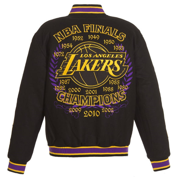 2019 Los Angeles Lakers Commemorative Reversible Wool Championship Jacket - Black - JH Design