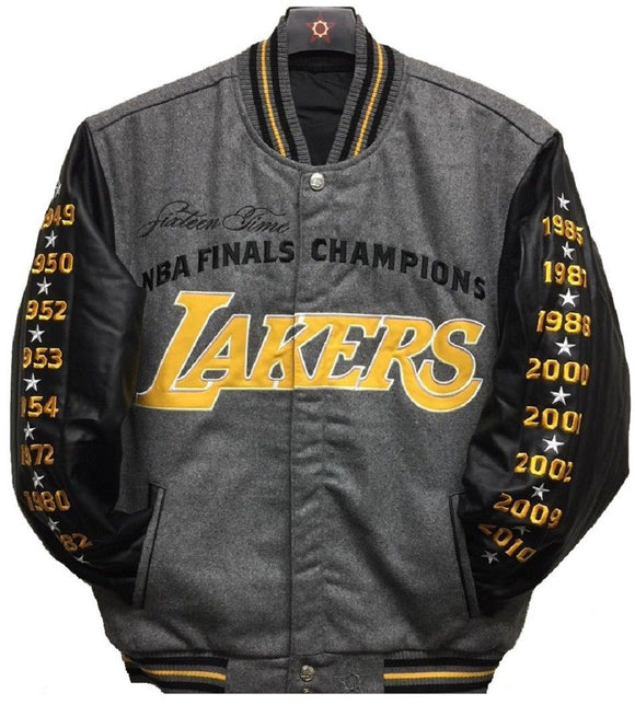 Los Angeles Lakers Commemorative Reversible Wool Championship Jacket - Charcoal/Black - JH Design