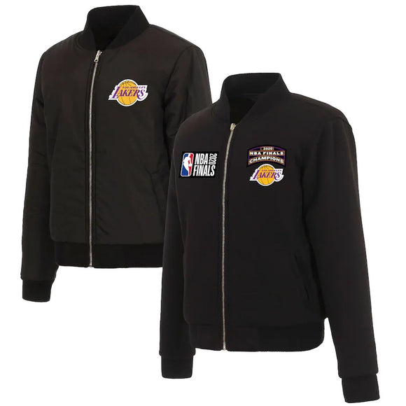 Los Angeles Lakers - JH Design Women's 2020 NBA Finals Champions Full-Zip Bomber Jacket - Black - JH Design