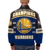 Golden State Warriors JH Design 2018 NBA Finals Champions Leather Logo Jacket – Royal