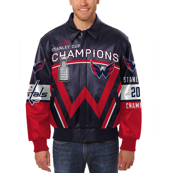 Washington Capitals JH Design 2018 Stanley Cup Champions All-Leather Jacket – Navy/Red - JH Design