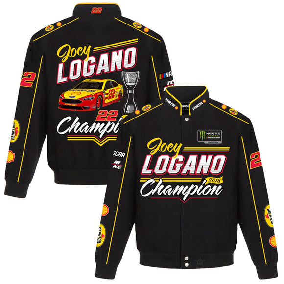Joey Logano 2018 Monster Energy NASCAR Cup Series Champion Twill Full-Snap Jacket – Black