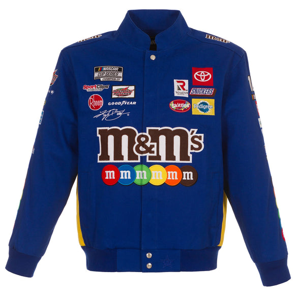 2021 Kyle Busch M&Ms Full-Snap Twill Uniform Jacket - Royal - Limited Edition - J.H. Sports Jackets