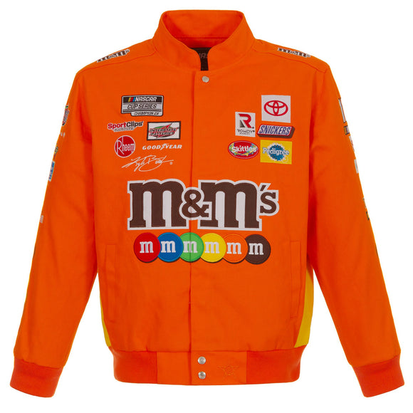 2021 Kyle Busch M&Ms Full-Snap Twill Uniform Jacket - Orange - Limited Edition - J.H. Sports Jackets