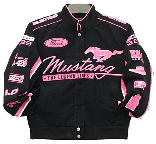 Ford Mustang Collage Women Twill Jacket - Black/Pink - J.H. Sports Jackets