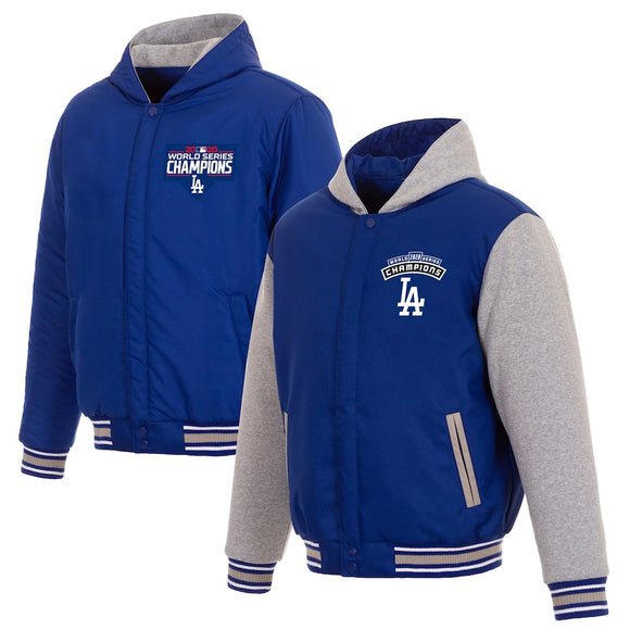 Los Angeles Dodgers JH Design 2020 World Series Champions Reversible Poly-Twill Full-Snap Hoodie - Royal/Gray - JH Design