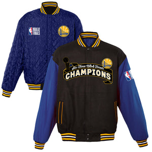 Golden State Warriors JH Design 2018 NBA Finals Champions All-Wool Reversible Full-Snap Jacket – Black/Royal - JH Design