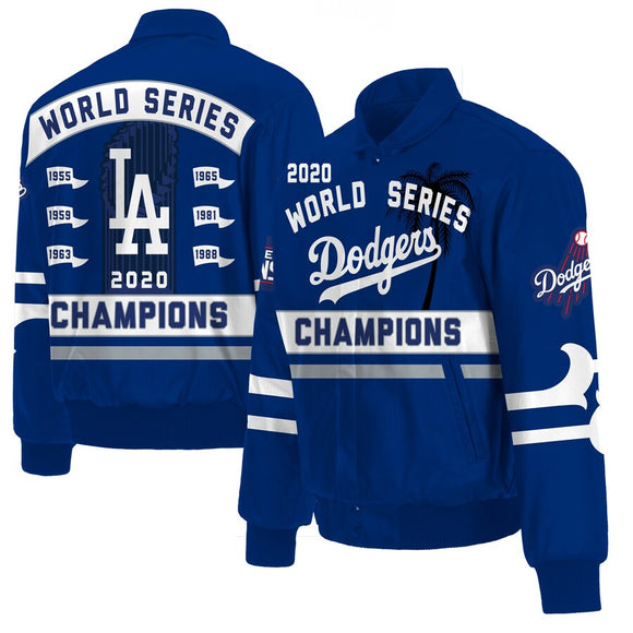 Los Angeles Dodgers JH Design 2020 World Series Champions Full-Snap Leather Jacket - Royal - JH Design