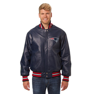 New England Patriots JH Design Leather Jacket - Navy - JH Design