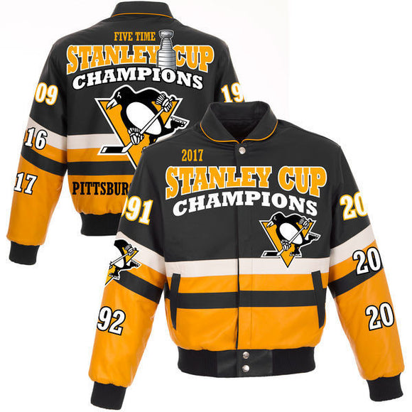 Pittsburgh Penguins JH Design 2017 Stanley Cup Champions All Leather Logo Jacket - Black