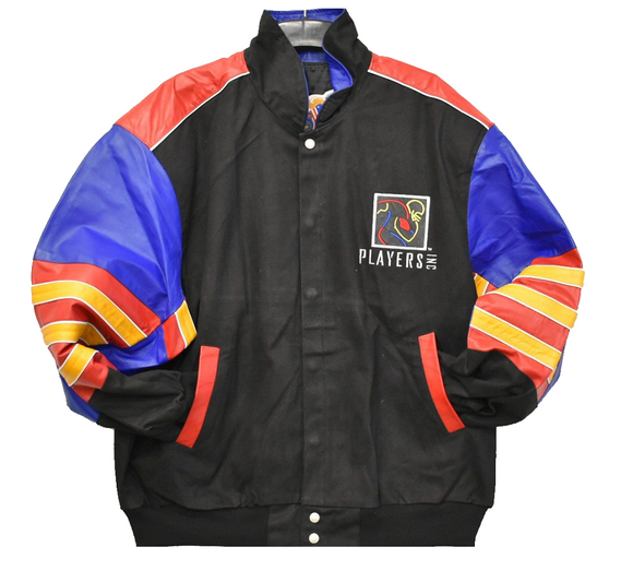 NFLPA - NFL Players Inc. Leather and Twill Jacket - Black/Red - JH Design