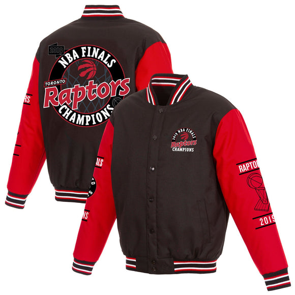 Toronto Raptors JH Design 2019 NBA Finals Champions Poly-Twill Jacket - Black/Red - JH Design