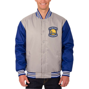 Golden State Warriors JH Design 2018 NBA Finals Champions Poly-Twill Full-Snap Jacket – Gray/Royal - JH Design