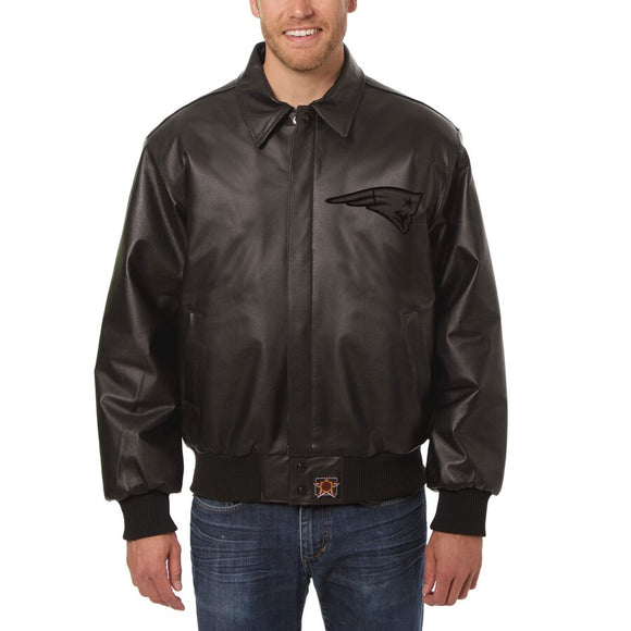 New England Patriots JH Design Tonal Leather Jacket - Black - JH Design