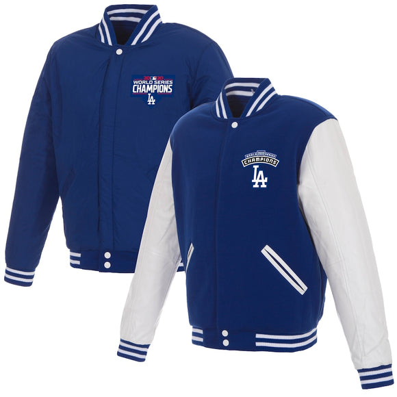 Los Angeles Dodgers JH Design 2020 World Series Champions Reversible Fleece & Faux Leather Full-Snap Jacket - Royal/White - JH Design