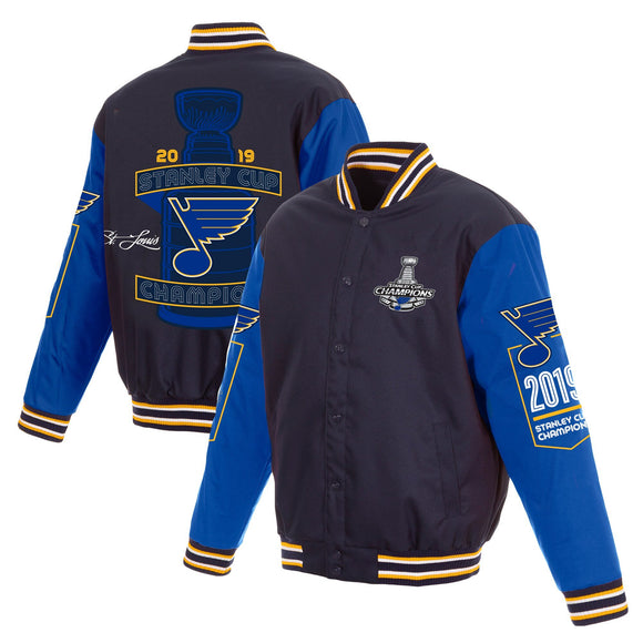St. Louis Blues JH Design 2019 Stanley Cup Champions Poly Twill Jacket with Quilted Knit - Navy/Royal - JH Design