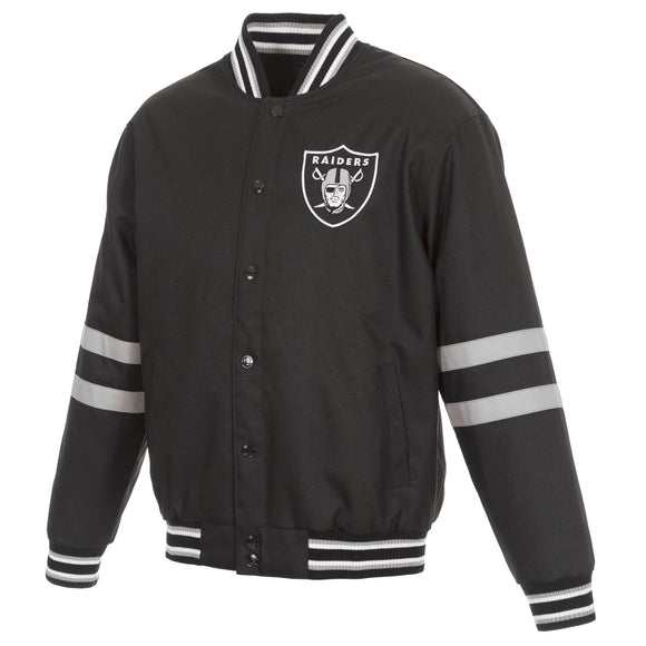 Las Vegas Raiders JH Design Poly Twill Varsity Jacket - Black - JH Design