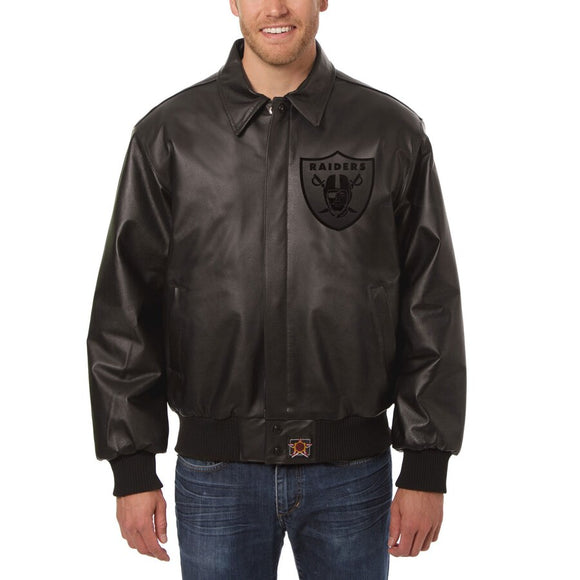 Las Vegas Raiders JH Design Tonal Leather Jacket - Black - JH Design