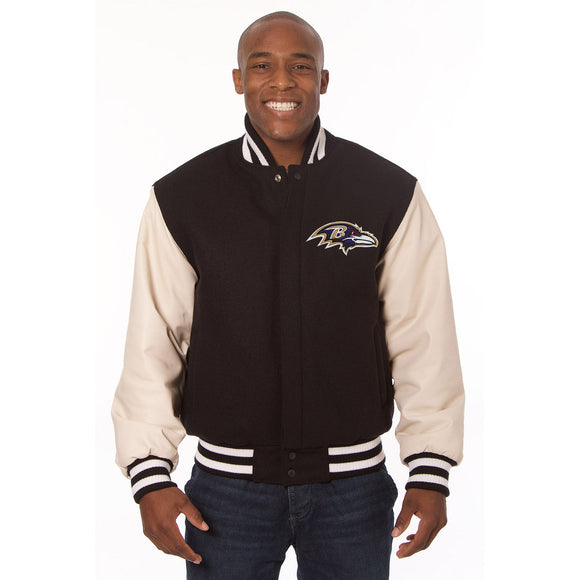 Baltimore Ravens Two-Tone Wool and Leather Jacket - Black/Cream - JH Design