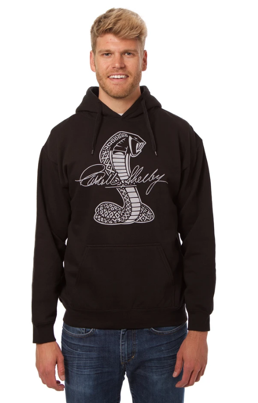 Shelby Cobra Pull-Over Hooded Sweatshirt - Black - JH Design