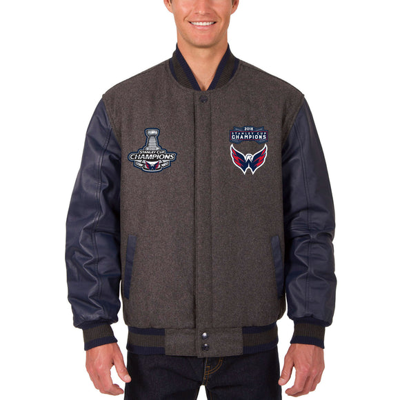 Washington Capitals JH Design 2018 Stanley Cup Champions Wool & Leather Jacket – Charcoal - JH Design