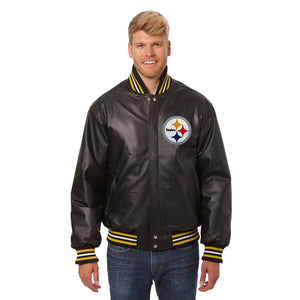 Pittsburgh Steelers JH Design Leather Jacket - Black - JH Design