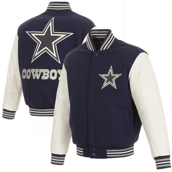 Dallas Cowboys Domestic Two Tone Wool Leather Jacket - Navy/White - JH Design
