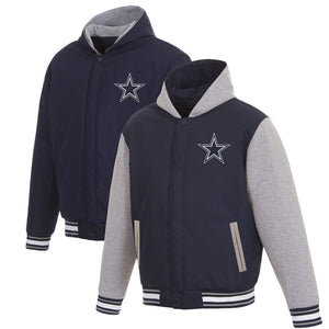 Dallas Cowboys Reversible Poly Twill Hooded Jacket - Navy/Gray - JH Design