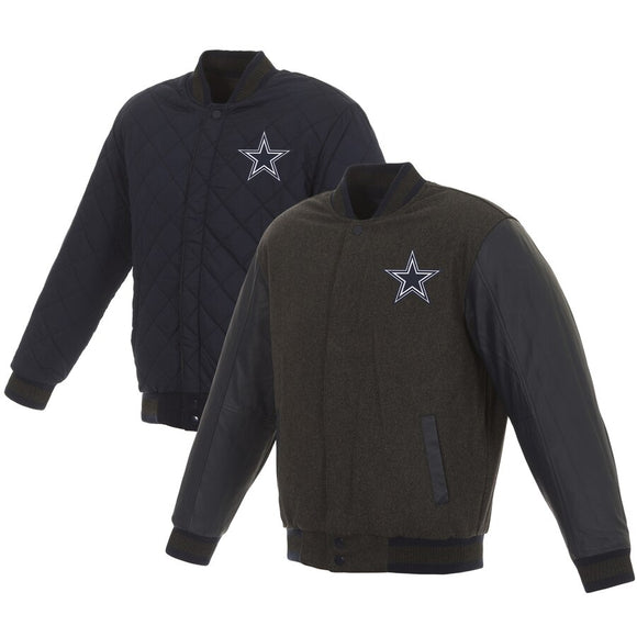 Dallas Cowboys Wool and Leather Reversible Quilted Jacket - Charcoal/Navy - JH Design